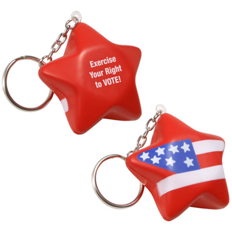 Patriotic Star Stress Ball Keychains